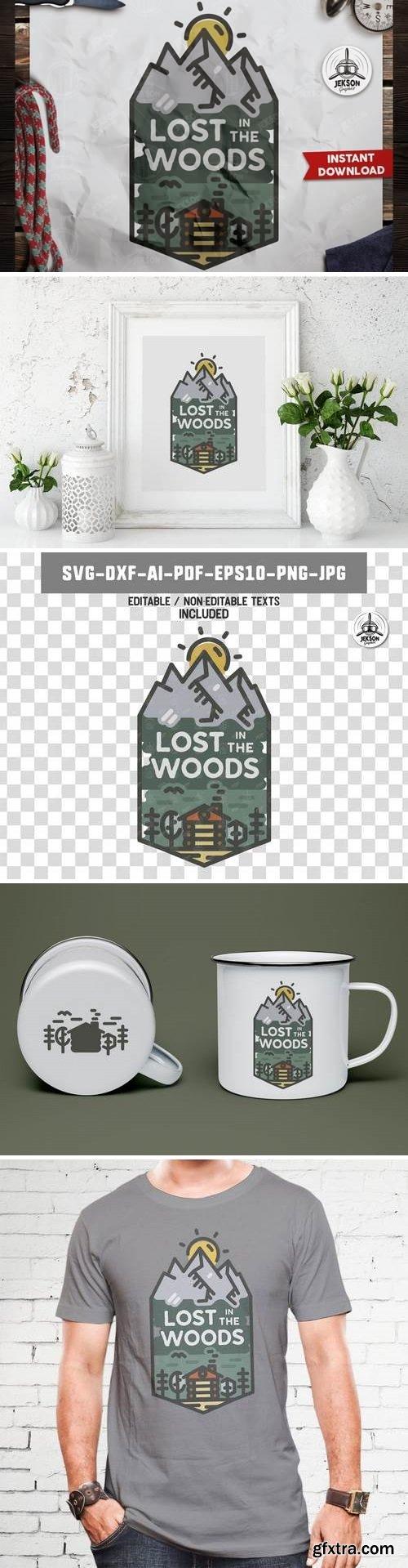 Lost in Wood Badge / Vintage Travel Logo Patch SVG
