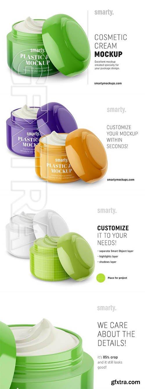 CreativeMarket - Cosmetic jar mockup half opened 3368147