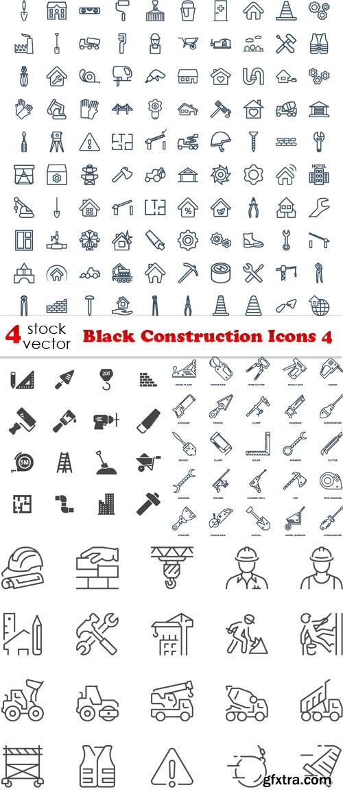 Vectors - Black Construction Icons 4