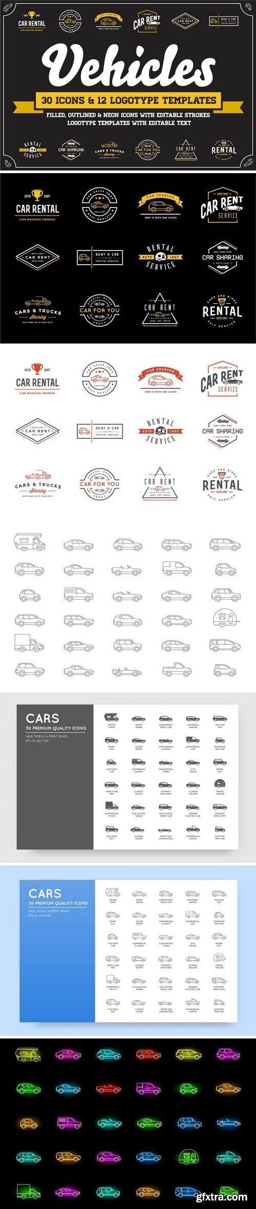 Thehungryjpeg - Awesome Vehicles Icons and Logo Set 3524401