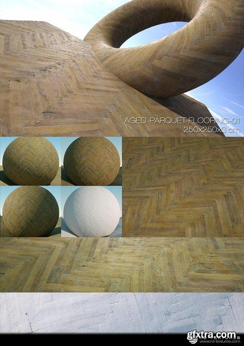 Aged Parquet Flooring 01 PBR Textures