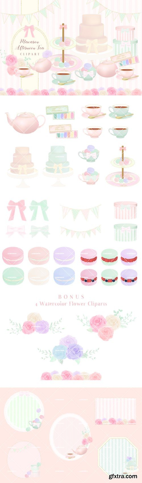 Macaron Afternoon Tea Party Cliparts