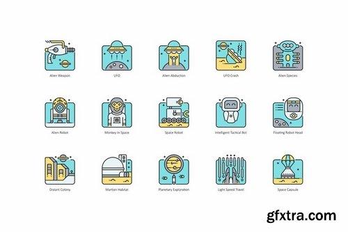 70 Space Icons Aqua Series