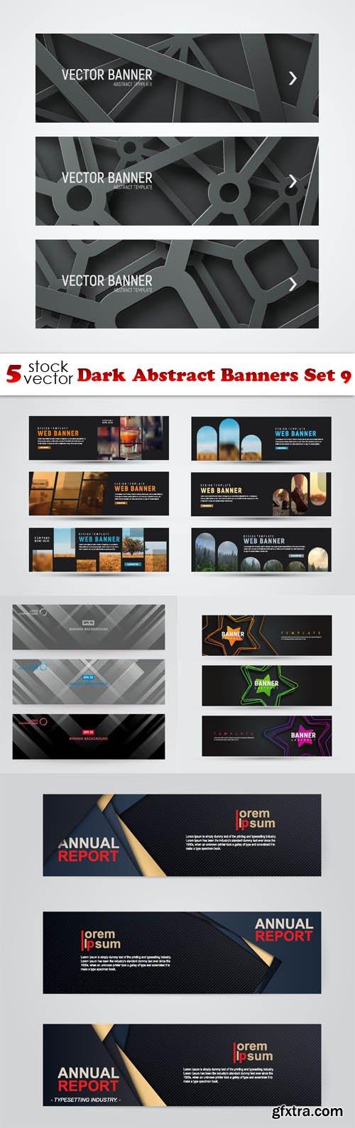 Vectors - Dark Abstract Banners Set 9