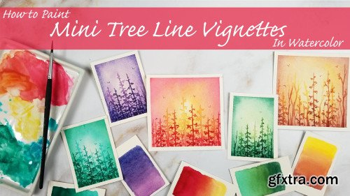 How to Paint Mini Tree Line Vignettes in Watercolor