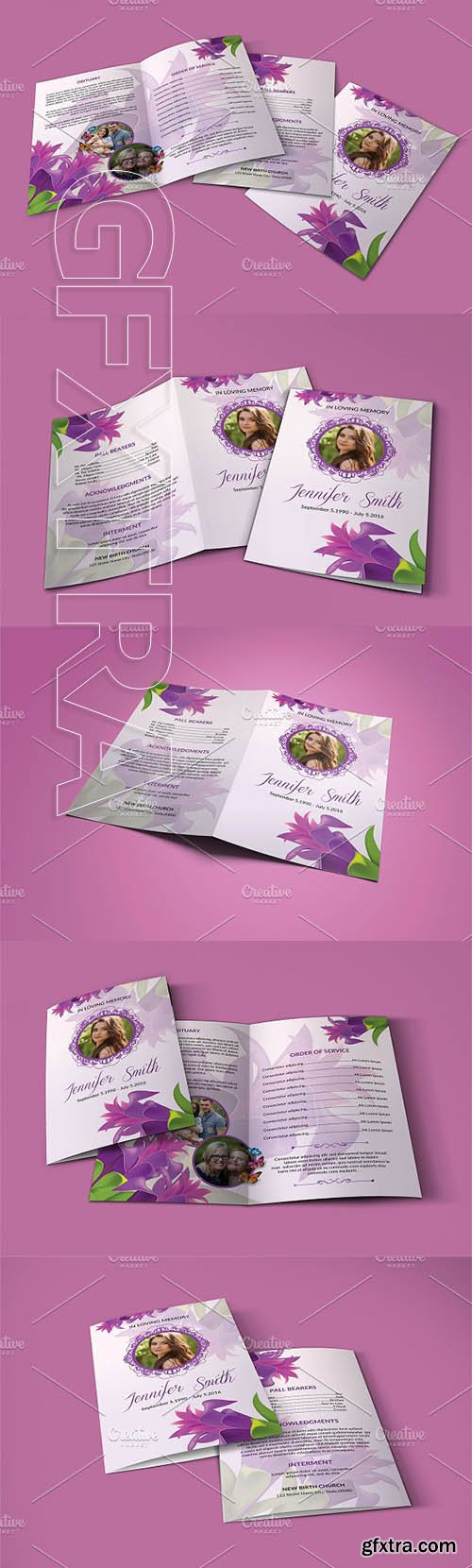CreativeMarket - Funeral Program Template - V820 2884701
