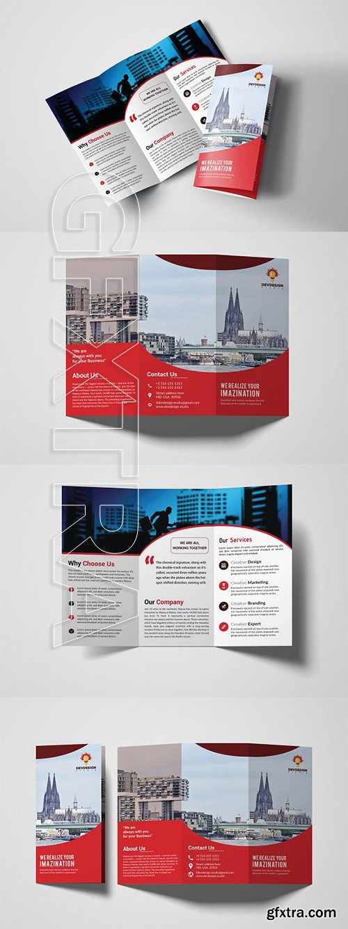 CreativeMarket - Corporate Trifold Brochure Design 3309890
