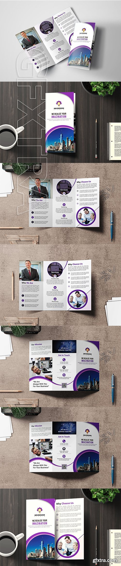 CreativeMarket - Corporate Trifold Brochure Design 3309907