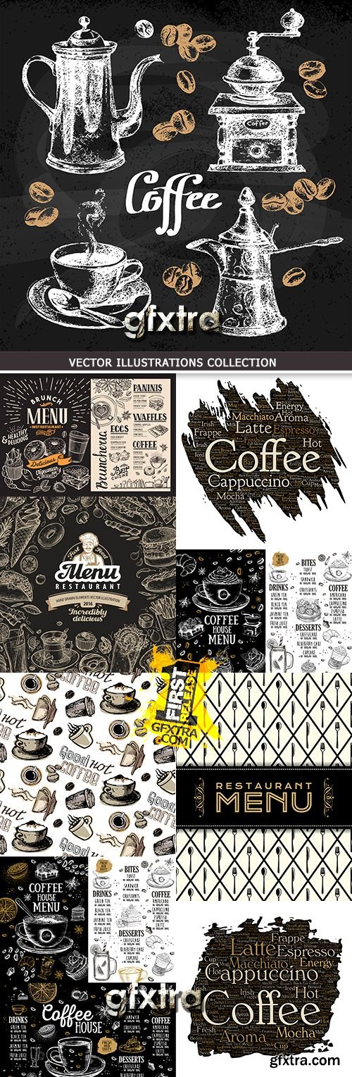 Coffee menu haus restaurant vintage illustration design