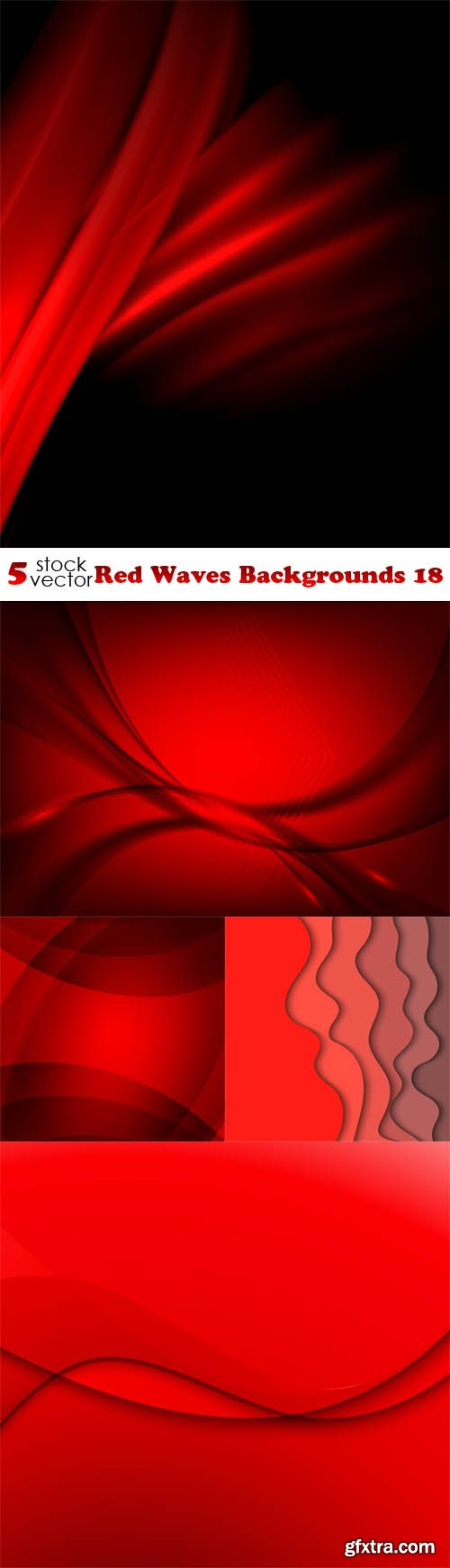 Vectors - Red Waves Backgrounds 18
