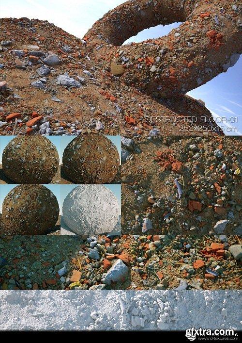 DESTRUCTED FLOOR 01 PBR Textures