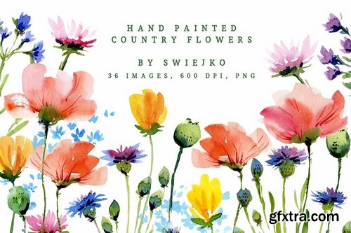 Watercolor Country Flowers