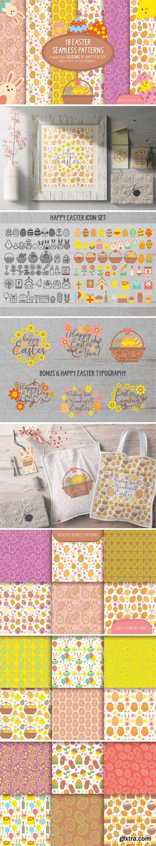 CM - 18 Easter seamless patterns & icons 2369644