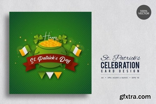 St. Patrick\'s Day Square Vector Cards 2