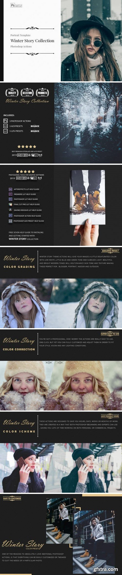 Thehungryjpeg - Neo Winter Story Color Grading photoshop actions 3524667