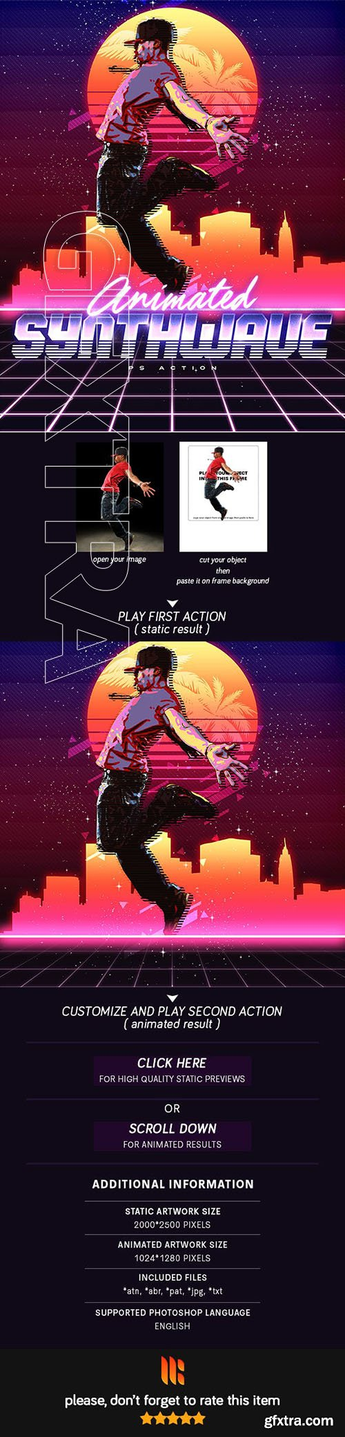 GraphicRiver - Animated 80\'s Synthwave Poster - Photoshop Action 23109854