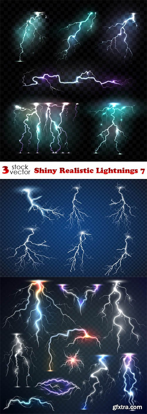 Vectors - Shiny Realistic Lightnings 7