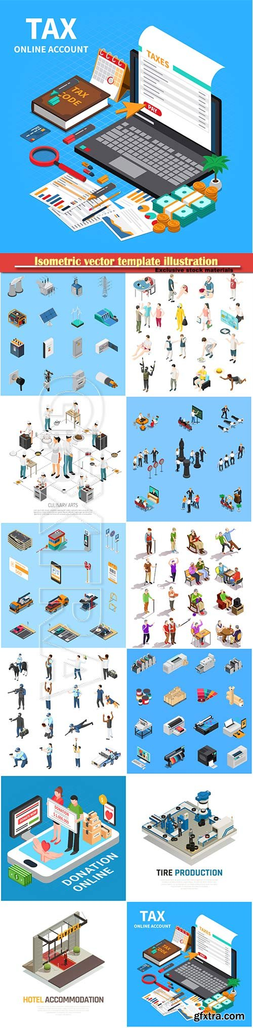 Isometric vector template illustration # 14