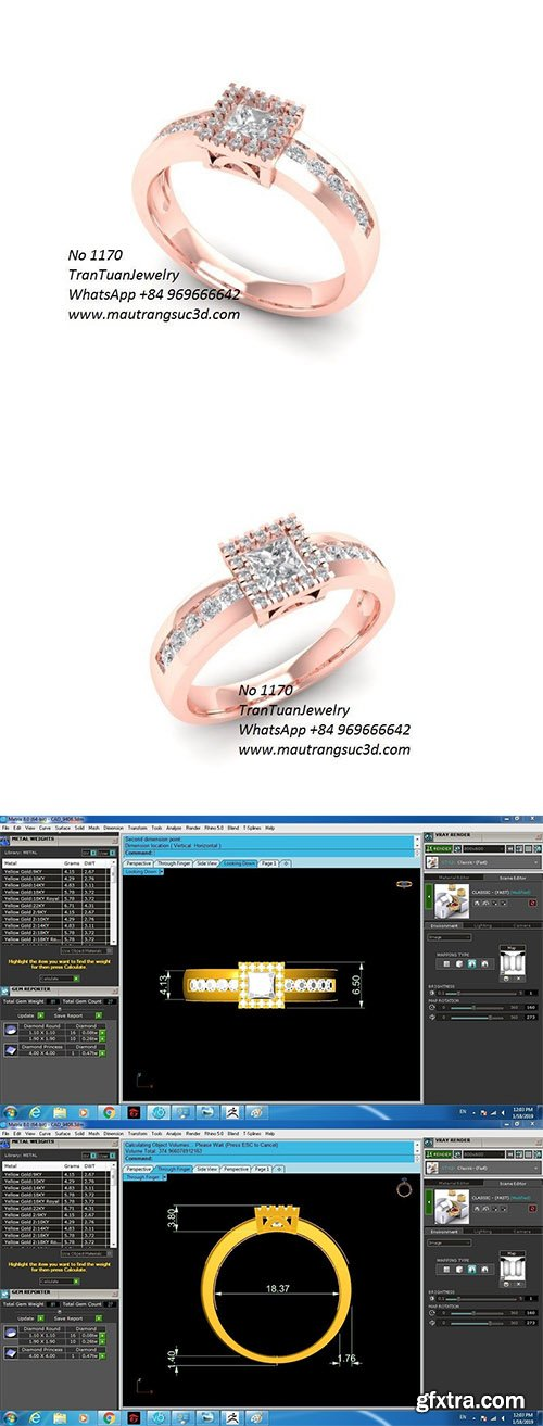 Cgtrader - 1170 Diamond Ring 3D print model