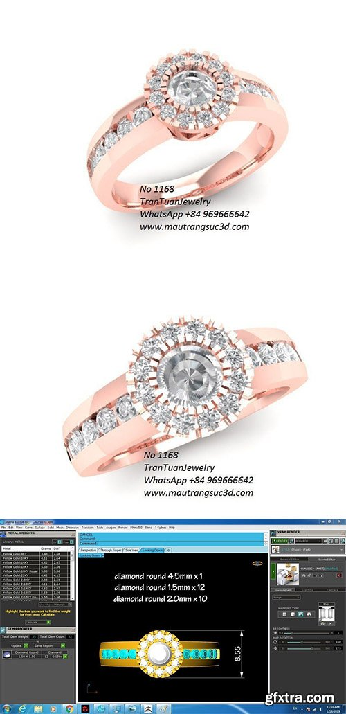 Cgtrader - 1168 Diamond Ring 3D print model