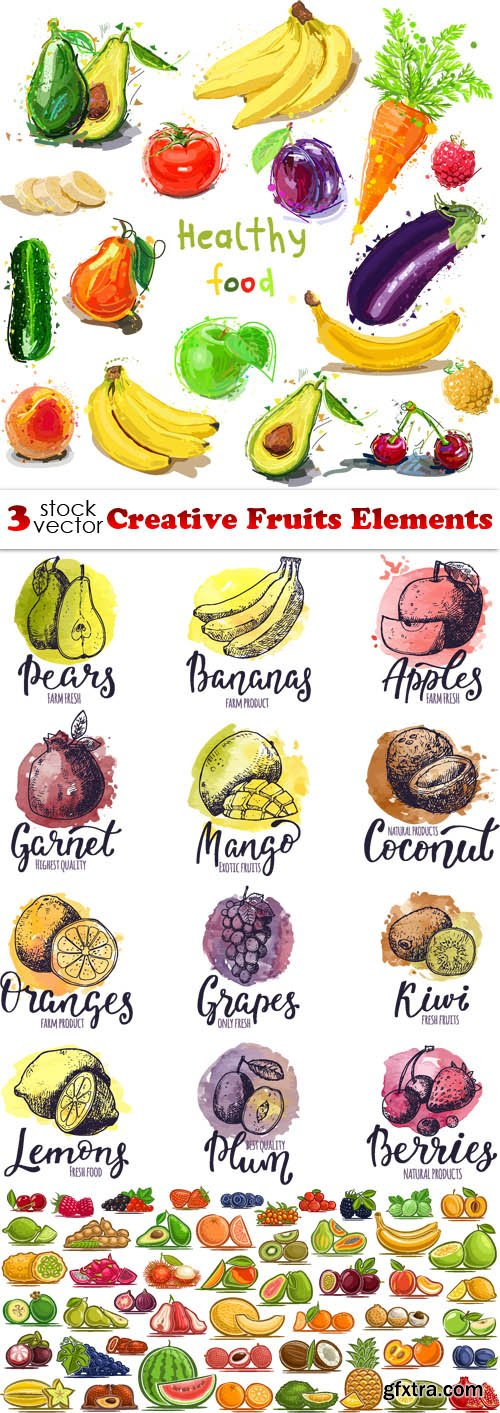 Vectors - Creative Fruits Elements
