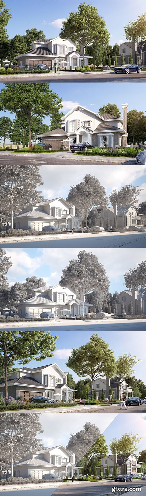 Cgtrader - Exterior beautiful house best rendering Low-poly 3D model