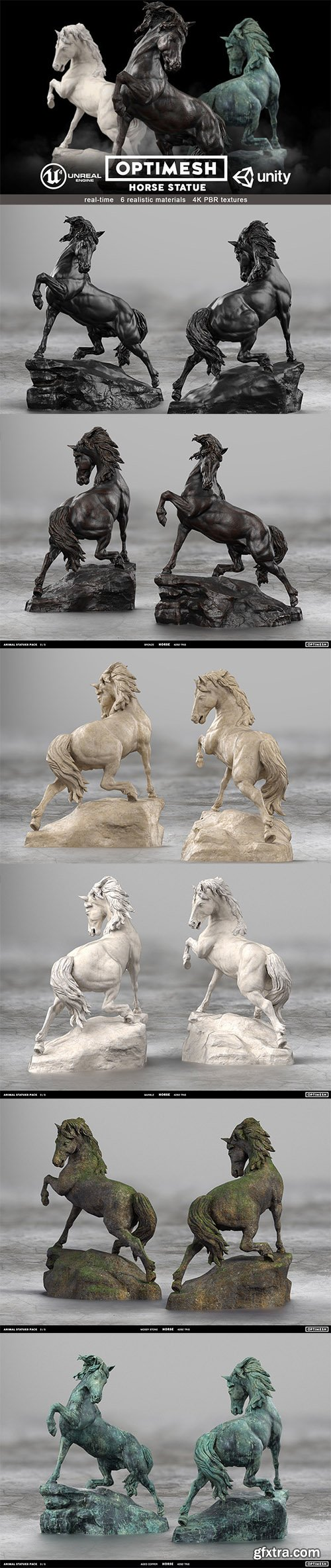 Cgtrader - Horse Statue - 3D PBR model Low-poly 3D model