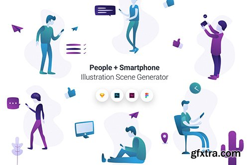 People + Smartphone Illustration Scene Generator