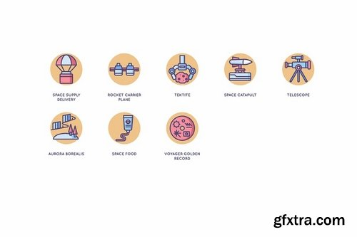 63 Space Icons Butterscotch Series