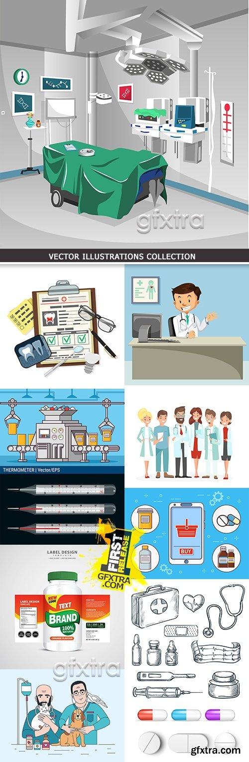 Medicine professional dignostic and equipment illustration 7