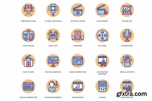 60 Video Production Icons Butterscotch Series