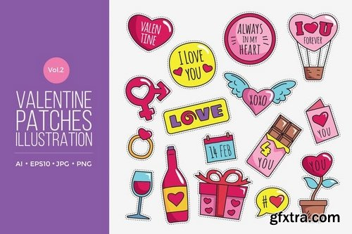 Cute Happy Valentine Patches Vol2