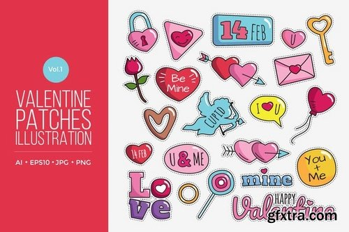 Cute Happy Valentine Patches Vol1