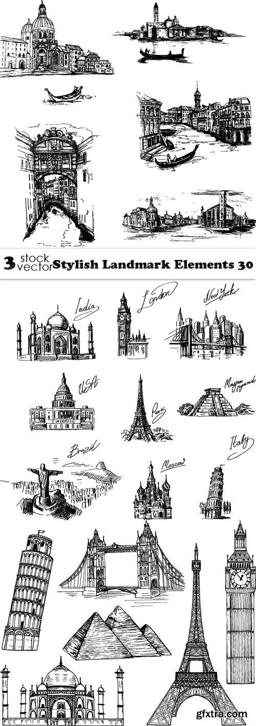 Vectors - Stylish Landmark Elements 30