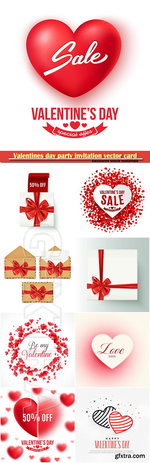 Valentines Day Party Invitation Vector Card 28 Gfxtra