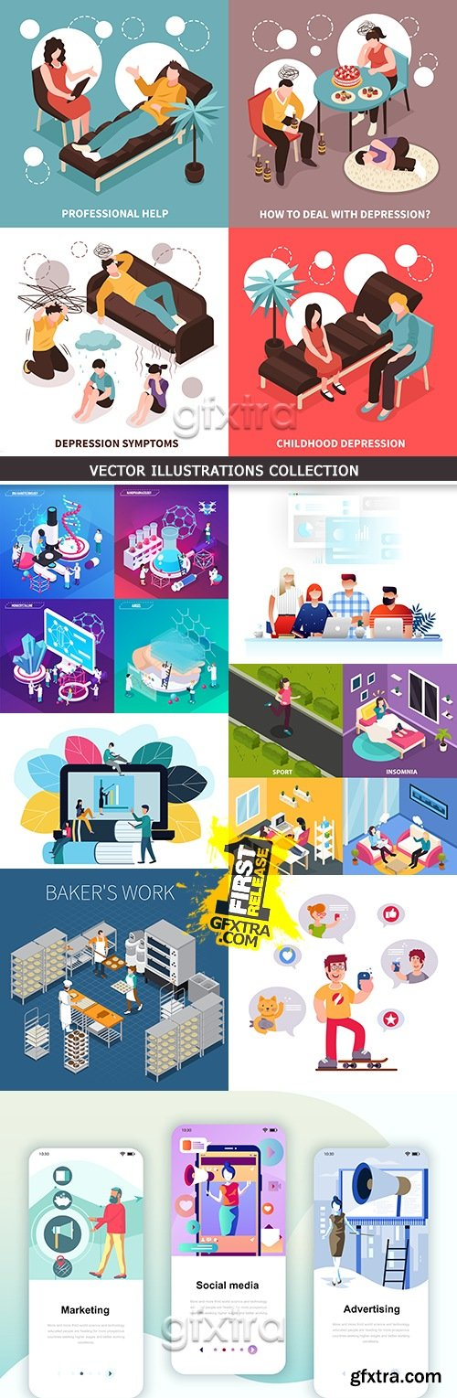 Modern vector illustrations collection different subjects 12
