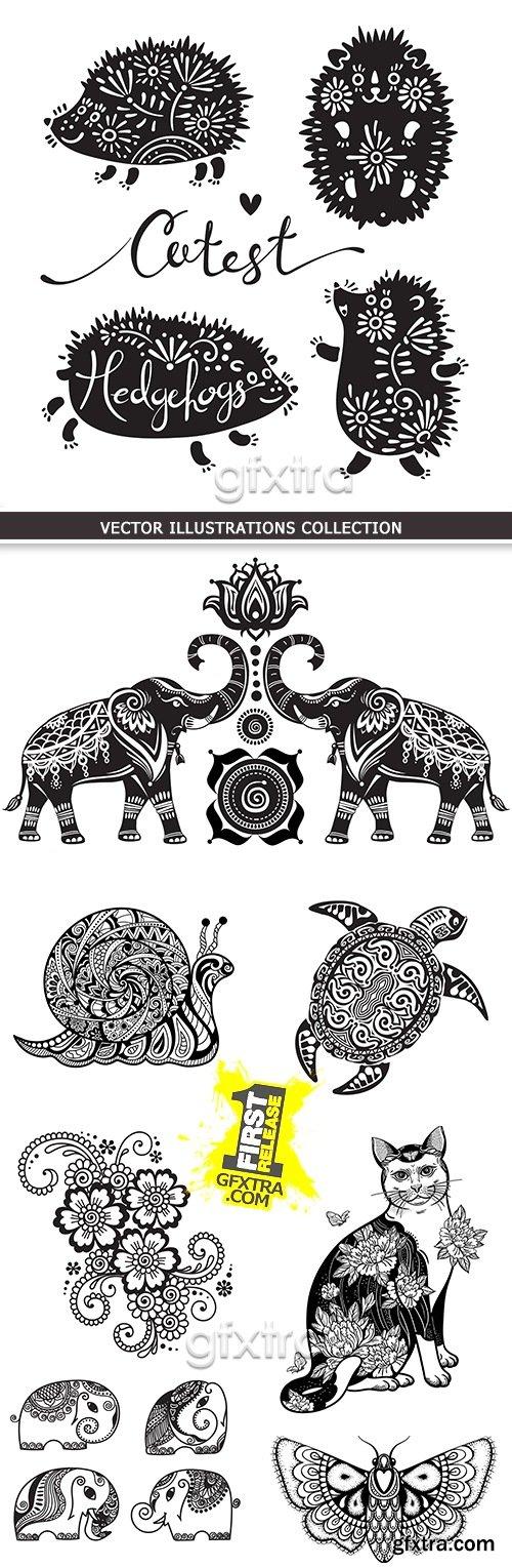 Decorative flowers and animal design tattoos