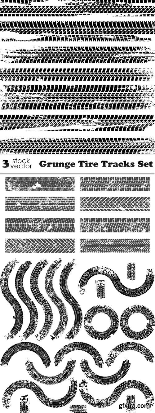 Vectors - Grunge Tire Tracks Set