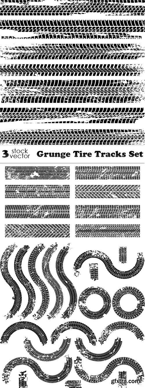 Vectors - Grunge Tire Tracks Set