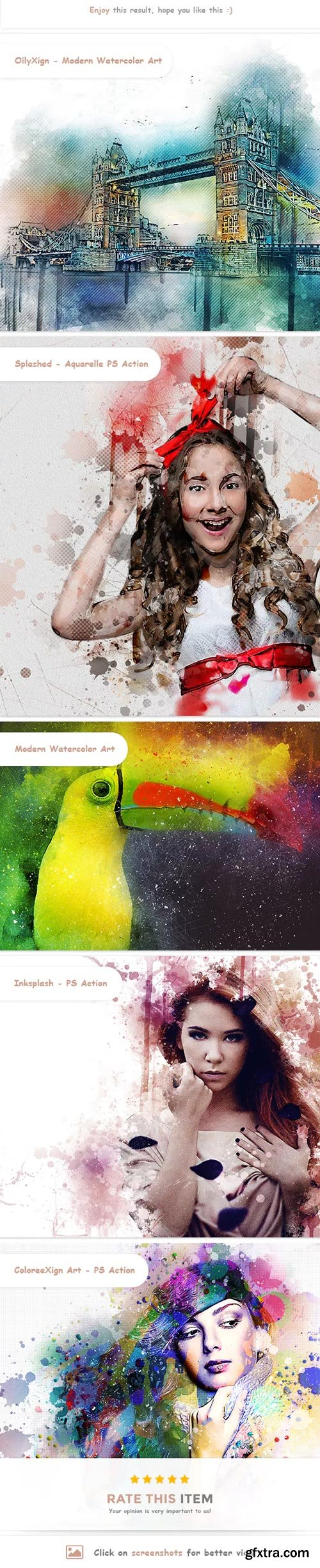 GraphicRiver - 5 in One Mixed Aquarelle PS Action Bundle - 23066719