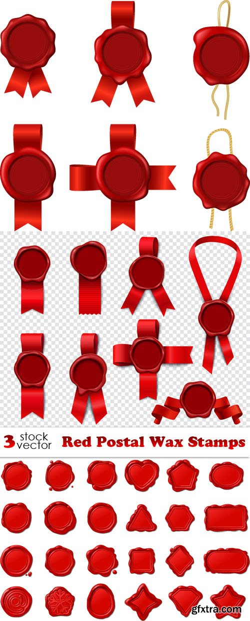 Vectors - Red Postal Wax Stamps