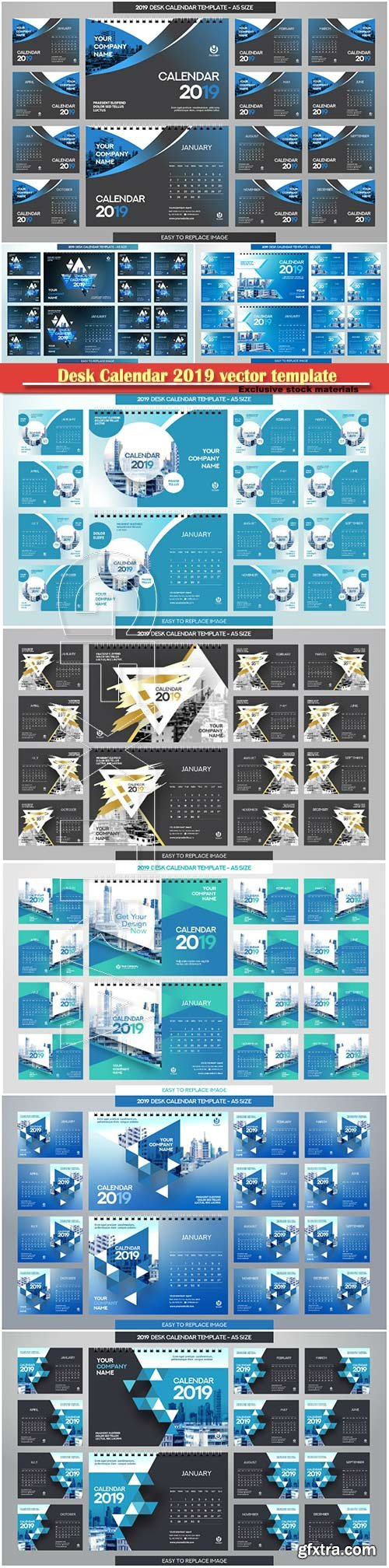 Desk Calendar 2019 vector template illustration