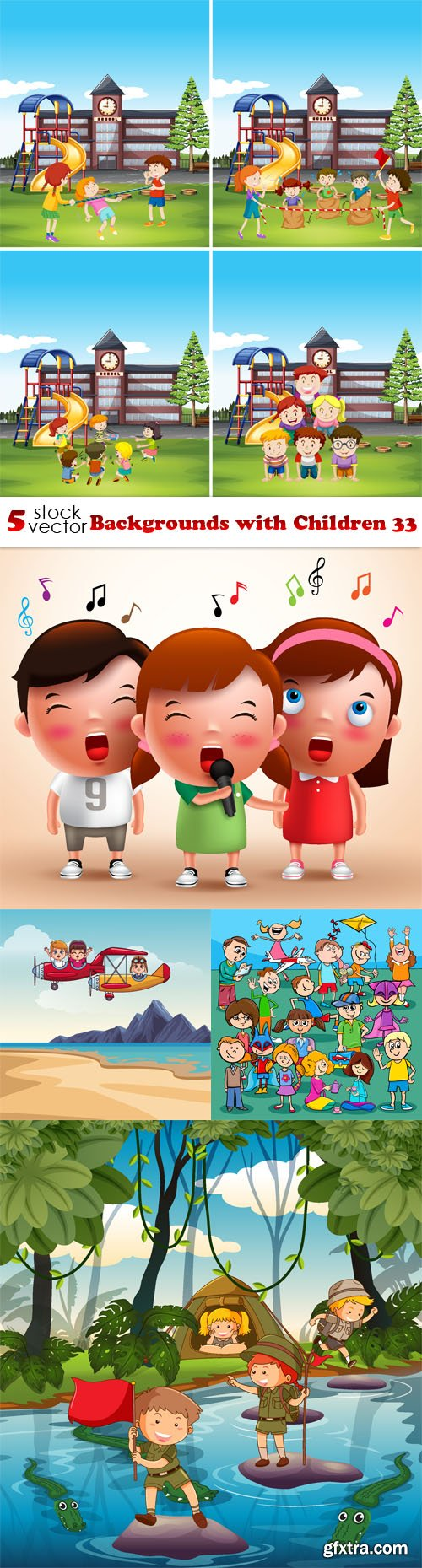 Vectors - Backgrounds with Children 33