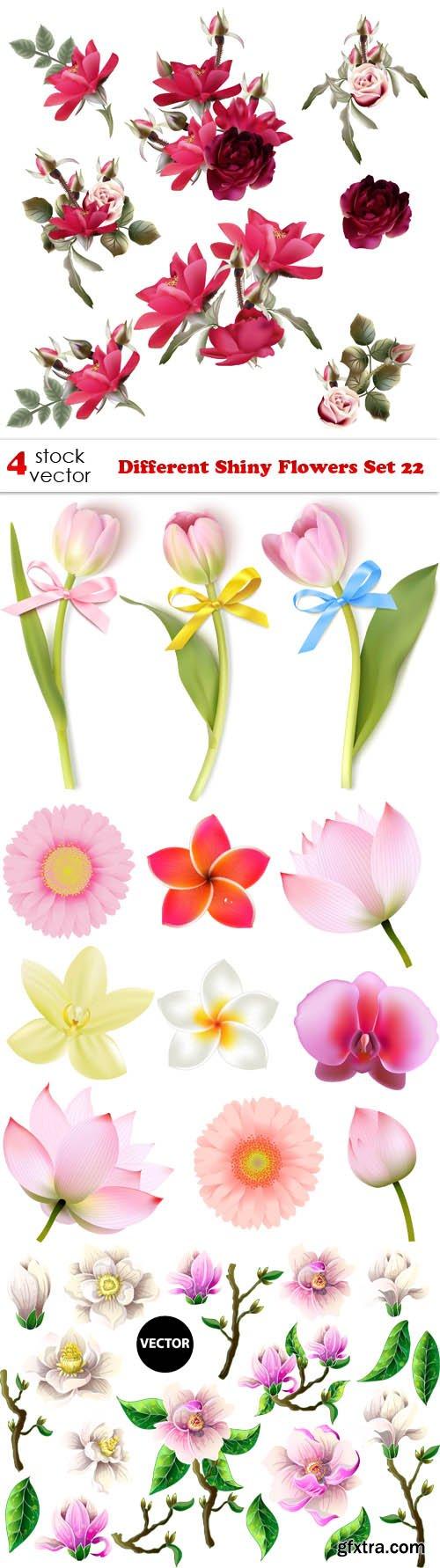 Vectors - Different Shiny Flowers Set 22