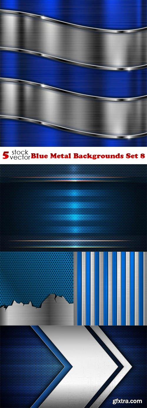 Vectors - Blue Metal Backgrounds Set 8
