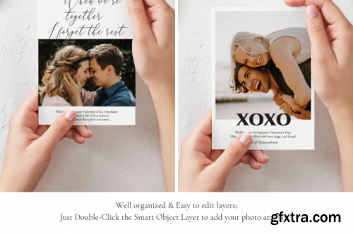 Valentine's Day Photo Card Templates Pack
