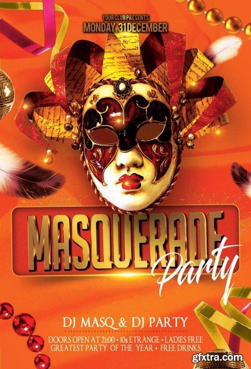 CreativeMarket - Masquerade Mardi Gras Party Flyer 3375517