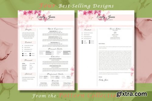 CreativeMarket - Resume CV Bundle Flower Collection 3336781