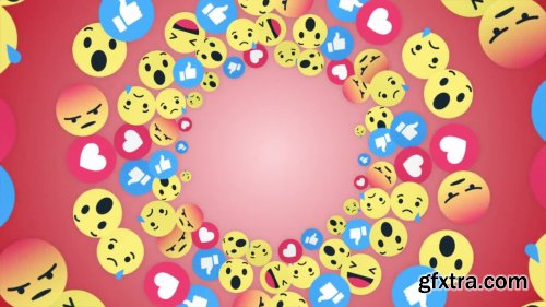 Emoji Rings Icon Faces Background - Motion Graphics 164992