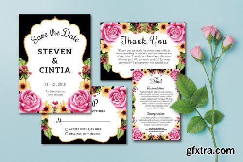 Wedding Invitation set flowers